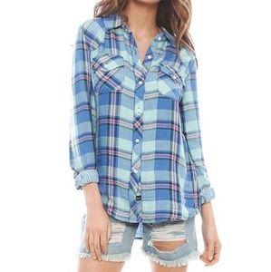 Rails Kendra tencel plaid shirt blue medium
